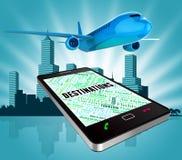 De bestemmingen wijst online op het Toerisme en de Websites van Www stock illustratie