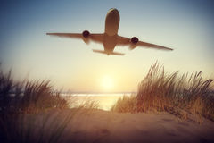 De Bestemmings in openlucht Concept van de vliegtuigreis Royalty-vrije Stock Foto's