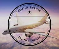 De Bestemmings in openlucht Concept van de vliegtuigreis Royalty-vrije Stock Foto