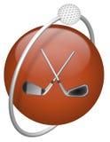 De bestuurder van het golf en bal rood pictogram Stock Afbeeldingen