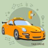 De Bestuurder van de taxi Gele taxi Stock Foto