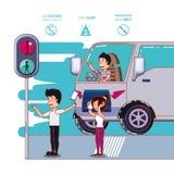 De bestuurder voert veilig een campagne etiket stock illustratie