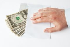 De Betaling van het contante geld in envelopthema Stock Foto's