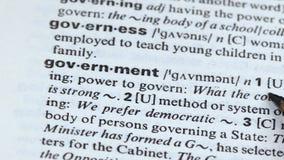De betekenis van het overheidswoord in woordenschat, macht van de uitspraak van land, democratie stock videobeelden