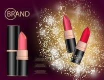 De betoverende kleurrijke die lippenstift op het fonkelen wordt geplaatst voert backgr uit Stock Foto's