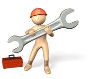 De betrouwbare ingenieurs werken met een groot hulpmiddel. Royalty-vrije Stock Foto