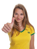 De Beuatifulvrouw van Brazilië is klaar weg voor de voetbalschop Royalty-vrije Stock Afbeeldingen