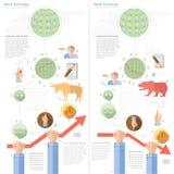 De beurs infographic met stier draagt infographic Royalty-vrije Stock Foto