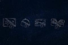 De beurs &safe van de creditcardportefeuille met slot en ketting Stock Afbeeldingen