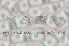 De beurs &safe van de creditcardportefeuille met slot en ketting Royalty-vrije Stock Afbeeldingen