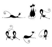De bevallige zwarte van kattensilhouetten voor uw ontwerp Royalty-vrije Stock Foto's