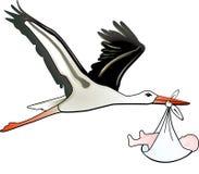 De bevalling van de ooievaar Stock Illustratie