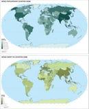 De bevolkingskaart van de wereld (vector) Royalty-vrije Stock Foto's