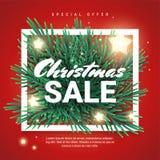 De bevorderingsbanner van de Kerstmisverkoop met speciale aanbieding Stock Afbeeldingen