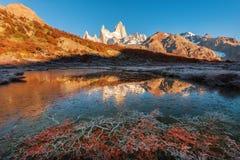 De bevroren bezinning van Monte Fitz Roy Cerro Chalte Royalty-vrije Stock Fotografie