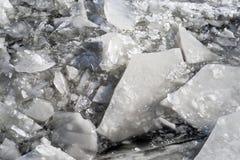 De bevroren ijsschol van het de winterijs royalty-vrije stock afbeelding