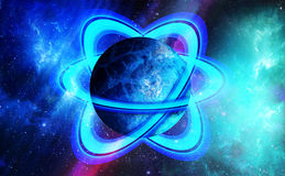 De bevroren Planeet van het Ijs met Geïsoleerdee Ringen, Stock Afbeelding