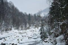 De bevroren snelle rivier van bergprut in de winter De lente het smelten van ijs Royalty-vrije Stock Afbeeldingen