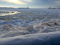 De Bevroren Wateren van Michigan Stock Afbeelding
