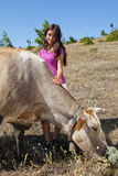 De bewaarder van de koe Stock Afbeeldingen