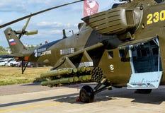 De bewapening van de Russische militaire helikopter Stock Afbeeldingen