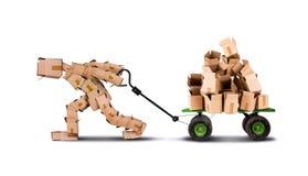 De bewegende dozen van de doosmens op karretje Stock Afbeelding