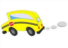 De bewegende isolatie van de schoolbus op witte achtergrond Stock Foto