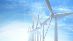De beweging groeit over de turbines die van de de bouwwind energie produceren vector illustratie