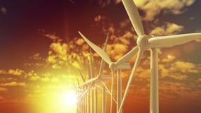 De beweging groeit over de turbines die van de de bouwwind energie produceren stock footage