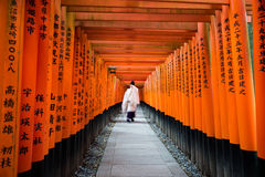 De beweging van Monnik in duizend toriipoort bij Fushimi-inari glanst, Stock Foto's