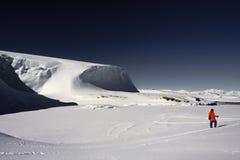 De bewegingen van de mens op skis royalty-vrije stock afbeeldingen
