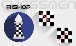 De bewegingen van de schaakbischop Stock Foto's