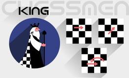 De bewegingen van de schaakkoning Stock Fotografie