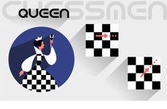 De bewegingen van de schaakkoningin Royalty-vrije Stock Afbeeldingen