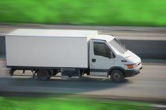De bewegingen van de vrachtwagen op weg Stock Fotografie