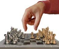 De bewegings gouden begint metaal van de schaakhand met al panden en de slag enkel - het 3d teruggeven royalty-vrije stock fotografie