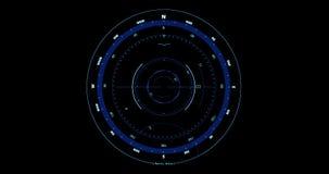 De bewegings naadloze lijn van kompas head-up vertoningen met het noorden en zuidenindicator zwarte achtergrond, concept technolo stock videobeelden