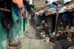 De bewoners van de krottenwijk van kolkata-India Stock Afbeelding