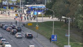 De bezig auto's van het stadszebrapad en stadsvervoer