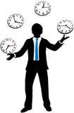 De bezige bedrijfspersoon jongleert met prikklok vector illustratie