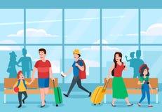De bezige Terminal van de Luchthaven Handelsreiziger, familievakanties reizen en reiziger het wachten bij de vector van luchthave royalty-vrije illustratie