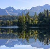 De bezinning van de berg in het meer stock afbeelding