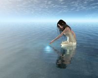 De Bezinning van de Nimf van het water Stock Foto