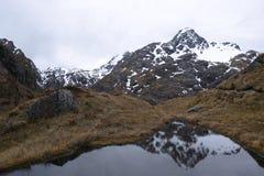 De bezinning van de sneeuwberg in rustig meer, Routeburn-spoor Stock Afbeelding