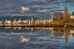 De Bezinning van de Stad van Vancouver Stock Foto
