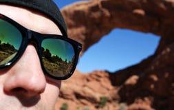 De bezinning van de zonnebril Stock Afbeeldingen