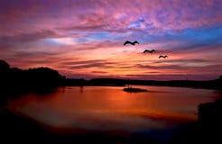 De Bezinning van de zonsondergang Stock Afbeelding