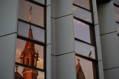 De bezinning van het kasteeldistrict aan Buda-kant Stock Foto