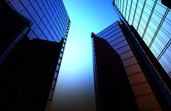 De bezinning van wolkenkrabbers in de Vensters van huizen de achtergrond 3D is geeft illustratie terug Stock Foto's