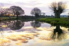 De Bezinningen van de rivier Stock Foto's